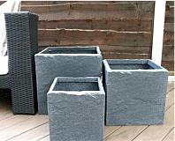 Stone Effect Cube Pots